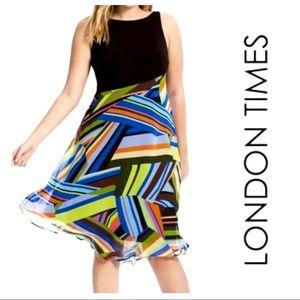 16 14W 16W London Times Mixed Media Chiffon Dress